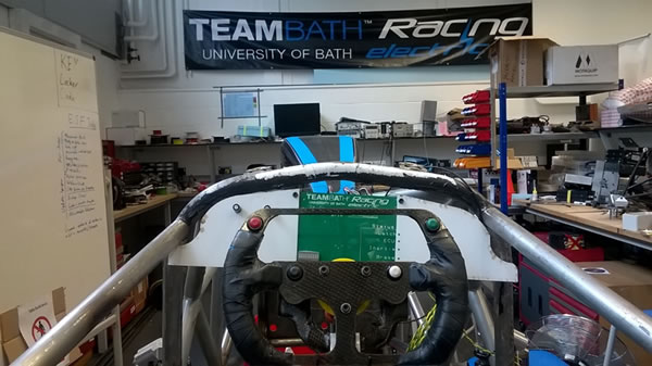 PCB mounted in the Team Bath Electric racing car